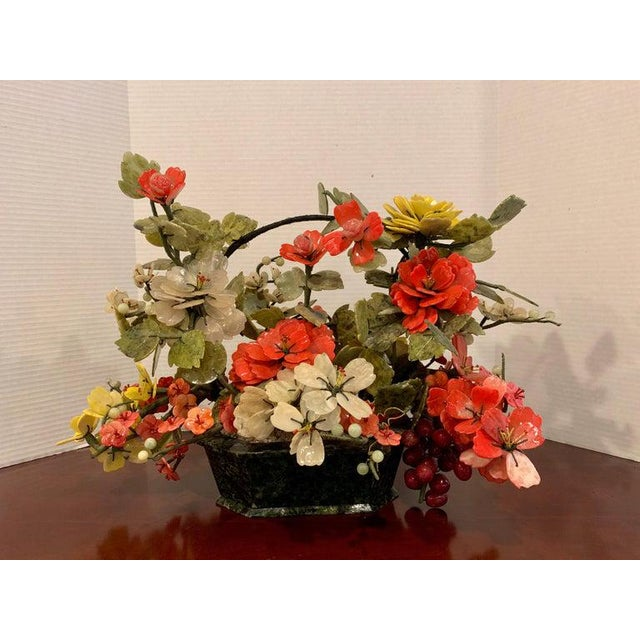Vintage Chinese Export Hardstone basket floral arrangement Standing 14 inches high by 15 inches deep and 23 inches wide....