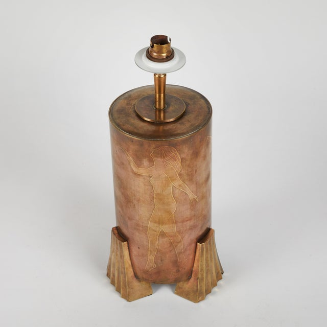 Copper and bronze lamp with etched classical figures with custom silk shade from 1920s France.