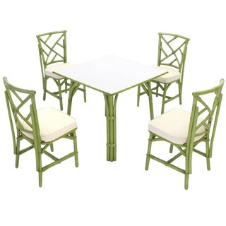 Square Game Table and Four Chairs Green Faux Bamboo Rattan For Sale