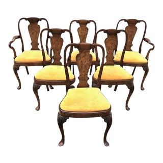 Vintage Mid Century Walnut and Burl Walnut Queen Anne Chairs- Set of 6 For Sale