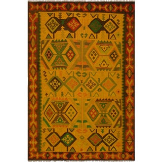 Navajo Style Jacquett Gold/Rust Hand-Woven Kilim Wool Rug - 8'1 X 11'3 For Sale