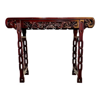 Antique 20th Century Chinese Hand Carved Rosewood Altar Table For Sale
