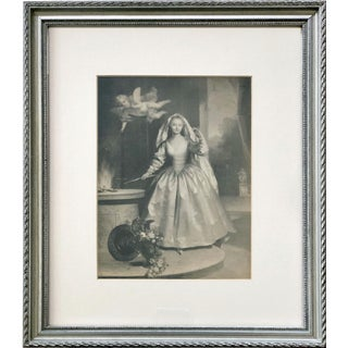 Antique Lithograph of a Woman and Cherub
