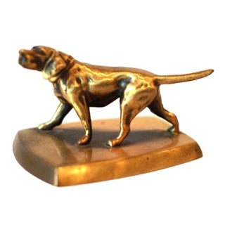 Solid Brass Dog Paperweight For Sale