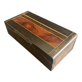 1960s Mid Century American Studio Craft Solid Ebony and Rosewood Box For Sale