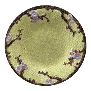 19th Century Majolica Plate With Flowers Joseph Holcroft For Sale