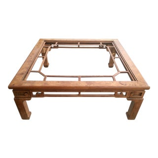 1970s Ming Burlwood Fretwork Coffee Table For Sale