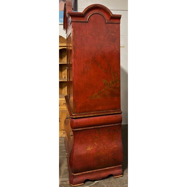 Chinoiserie Huge 18th C Style Red Chinoiserie Decorated Dutch Bombay Linen Press For Sale - Image 3 of 7