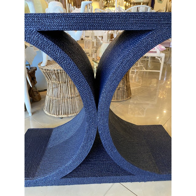 Navy Blue Vintage Karl Springer Style Navy Blue Lacquered Rope Console Table For Sale - Image 8 of 13
