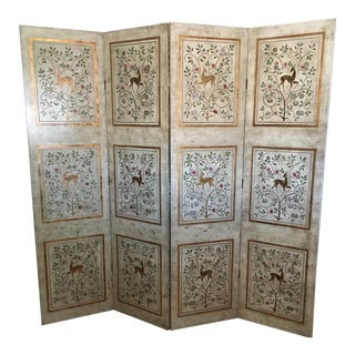 Gold Leaf Leather Wrapped Eastern Screen