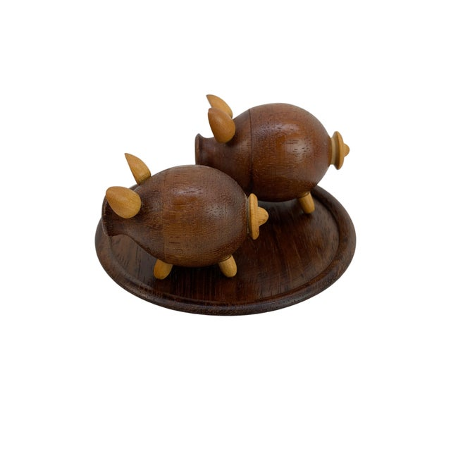 Wood Handmade Walnut Pig Salt & Pepper Shakers on Tray For Sale - Image 7 of 9