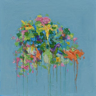 "Abstract ""Bouquet on a Blue Ground"" Painting by Stephen Remick For Sale"
