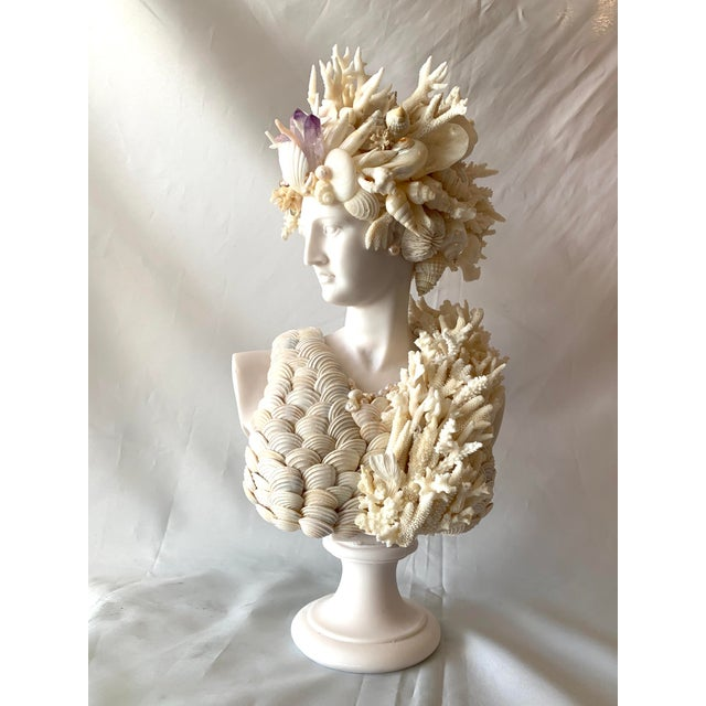 Cast Marble Shell Diana Bust Sculpture For Sale - Image 9 of 13