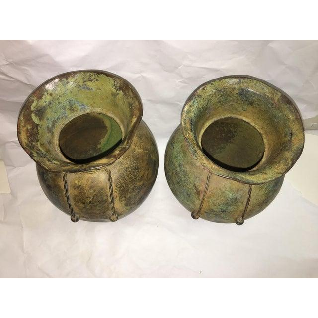 Antiqued Copper Finish Vases - A Pair - Image 7 of 7