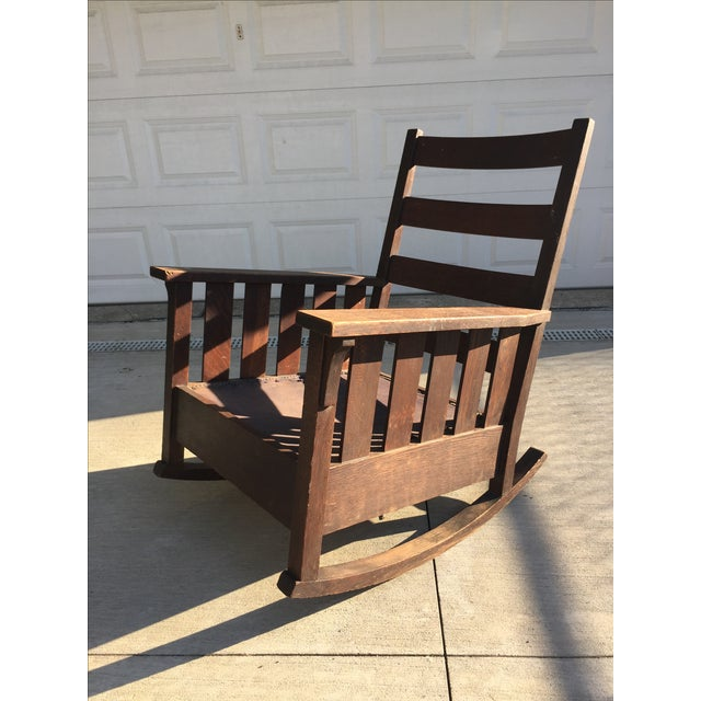 Original 1901-1903 Gustav Stickley Signed Slat-Side Rocker (Model 332). The rocking chair is owned by descendants of the...