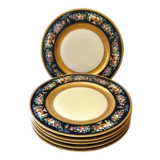 Black Knight Selb Bavaria Gold Banded Dinner Plates - Set of 6