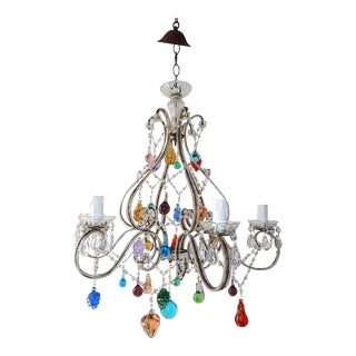 Italian Beaded Murano Colorful Fruit Chandelier, 1920 For Sale