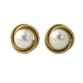 14k Gold Mabe Pearl Pierced Post Earrings For Sale