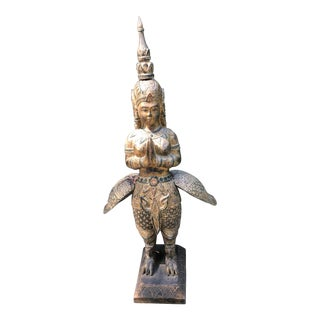 "Large 52"" Giltwood Thai Deity Statue For Sale"