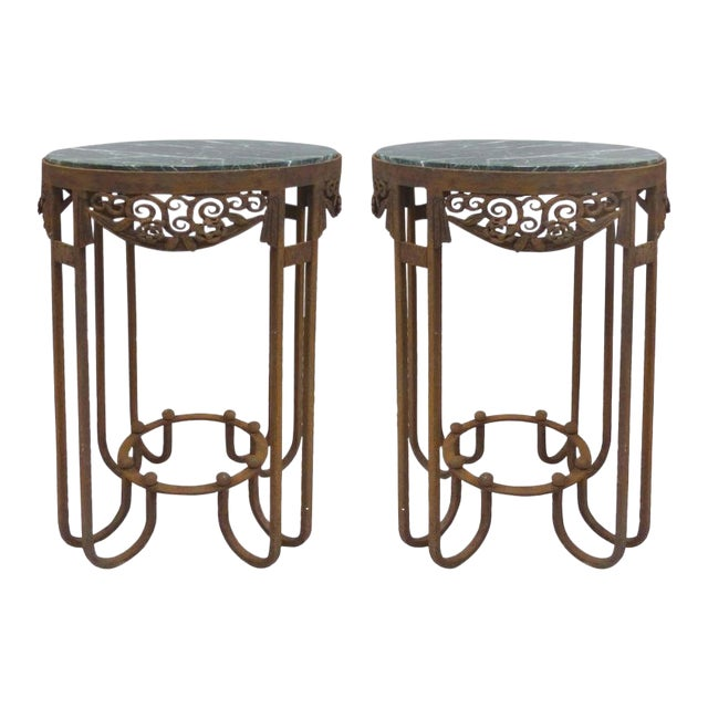 French Art Deco Wrought Iron Marble Top Tables by Paul Kiss - A Pair For Sale