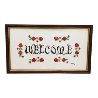 """Vintage """"Welcome"""" Cross Stitch in Frame For Sale"""