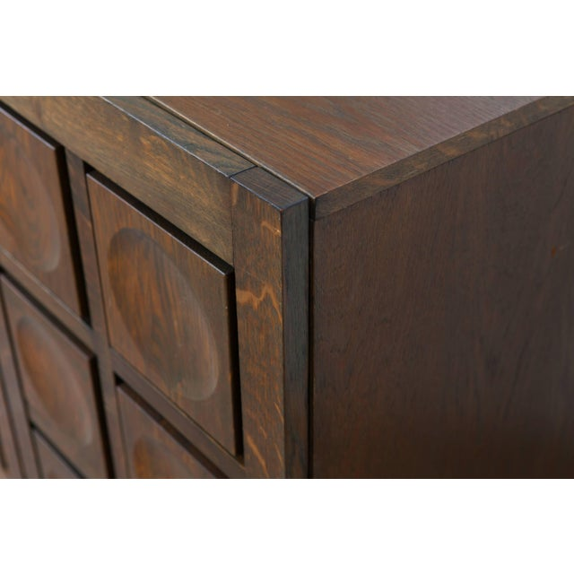 Brutalist Stained Oak Credenza, 1970s For Sale - Image 10 of 11