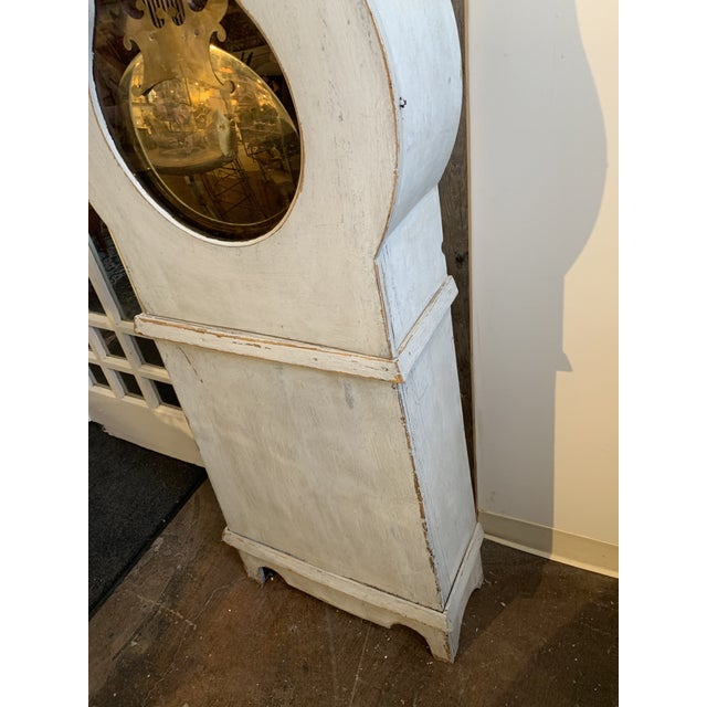 Brass Antique French Painted Grandfather Clock For Sale - Image 7 of 13
