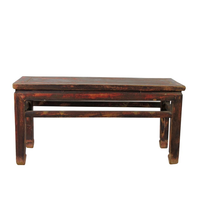 Asian Rustic Shandong Elm Bench For Sale - Image 3 of 7