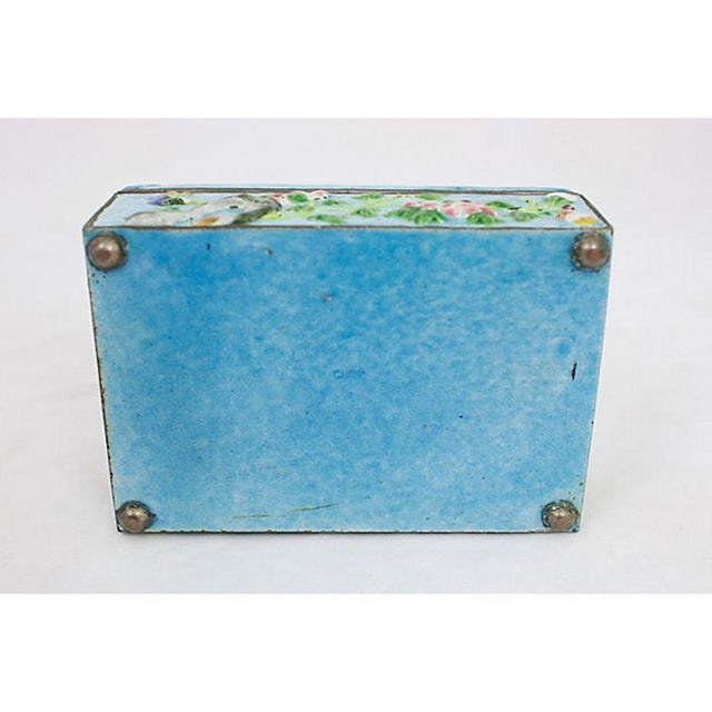 Metal Antique Enamelware Box For Sale - Image 7 of 8