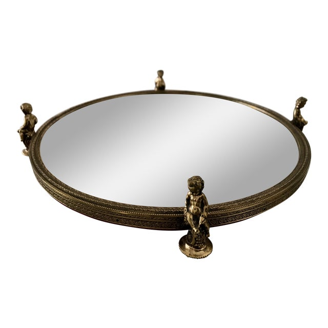 Vintage Cherub Framed Gold Mirrored Cosmetic Tray For Sale