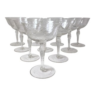 10 Antique Cut Crystal Champagne Goblets For Sale