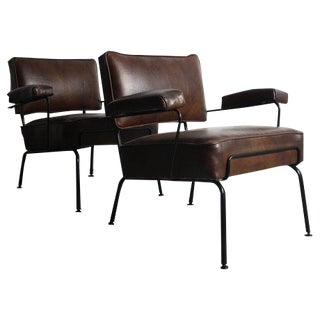 Mid-Century Wrought Iron Arm Chairs - A Pair For Sale