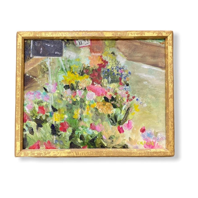 """Contemporary """"Mixed Bouquet on Floor"""" Painting in Gold Frame For Sale - Image 3 of 3"""