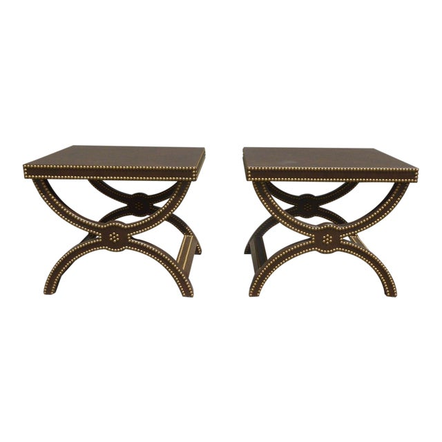 Vintage Post Modern Studded Leather Stretcher Tables- a Pair For Sale