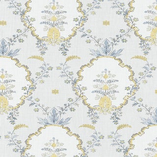 "Lewis & Wood Vallance Blue Citrine Extra Wide 52"" Damask Style Wallpaper - 1 Yard For Sale"