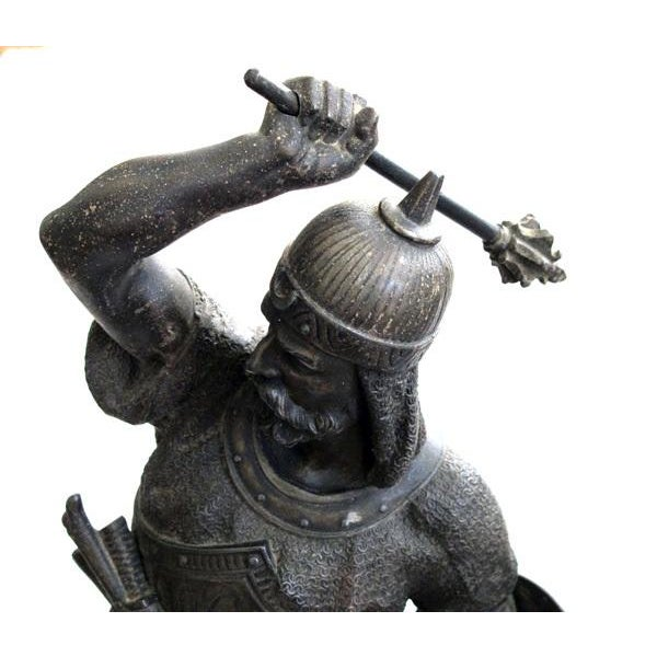 A Well-Executed Pair of English Spelter Figures of Visigoth Warriors For Sale - Image 4 of 9