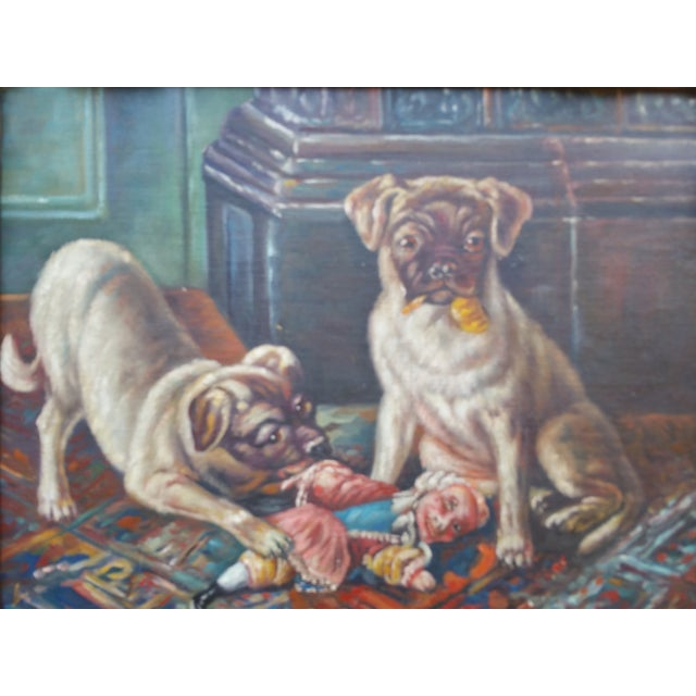 Cabin Vintage Pugs & Punch Oil Painting For Sale - Image 3 of 6