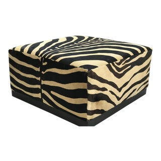 Adrina Hoyos Cowhide Square Ottoman For Sale