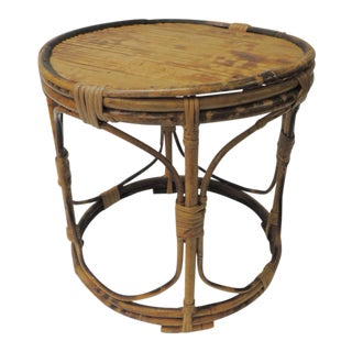 Vintage Bamboo Round Low Side Table For Sale
