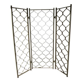 Vintage 1960's Mid-Century Modern Folding Screen Room Divider For Sale