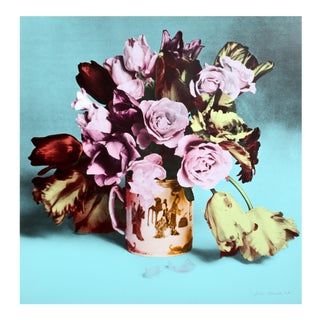 Roses and Tulips in Chinese Mug (Turquoise) Screenprint