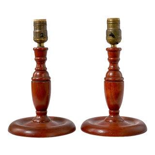 Turned Wood Table Lamps - a Pair For Sale