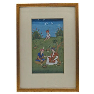 Persian Miniature Painted Scene For Sale
