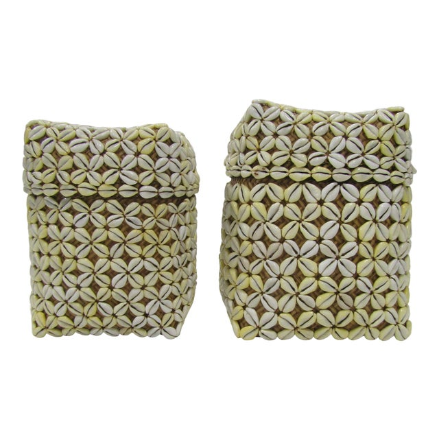 Shell Storage Baskets With Lids From Hawaii - A Pair For Sale