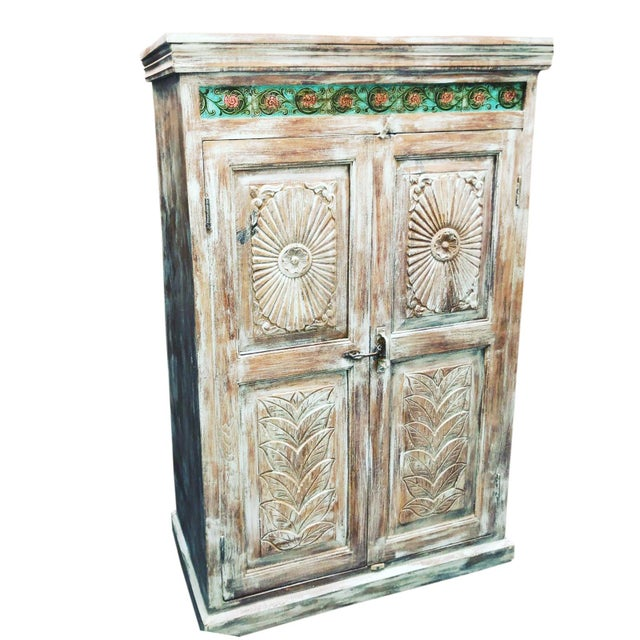 1920s Antique Carved Wood Armoire For Sale In Miami - Image 6 of 6