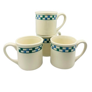 Hartstone Pottery Blue and Green Checkered Checkmate Mugs - Set of 4 For Sale