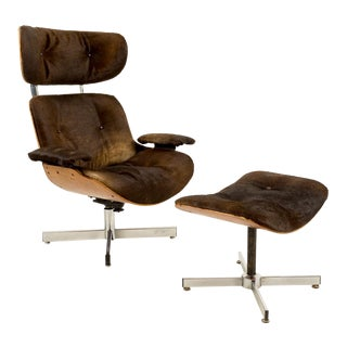 Plycraft Cowhide Upholstered Lounge Chair & Ottoman