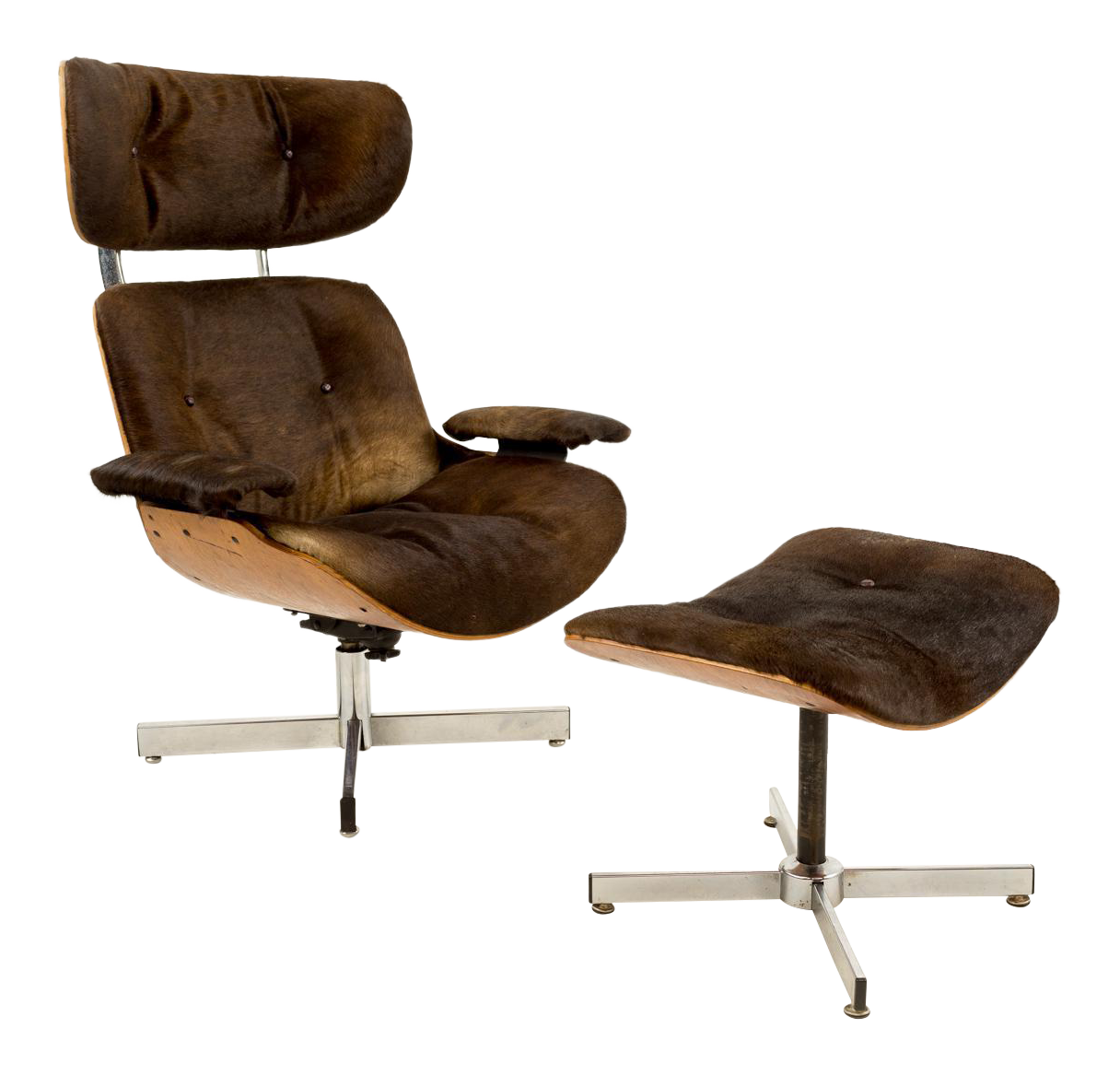 Plycraft Cowhide Upholstered Lounge Chair U0026 Ottoman