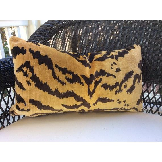 """Wonderfully rich Scalamandre """"Le Tigre"""" fabric - a plush silk velvet tiger stripe pillow cover with a zippered closure...."""