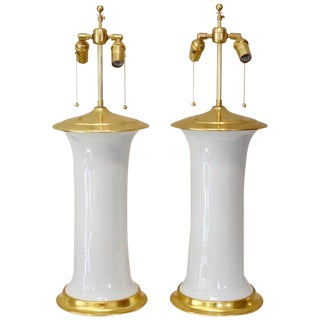 1990s French Gu Form Blanc De Chine White Porcelain Lamps - a Pair For Sale